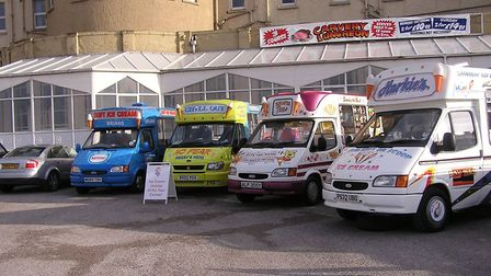 Brian Sanders van in the line-up with the other finalists' vans in Blackpool during the Ice Cream Al