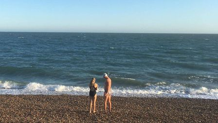 Robin Fisher swimming the English Channel. Picture: Robin Fisher