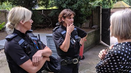 PC Leah Norton and PC Paula Gilluley talk to Annettee Beal from Access. Picture: Marc Betts