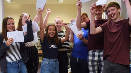 High performing students at Wayland Academy celebrate their GCSE results. From left, Jessica Bower,