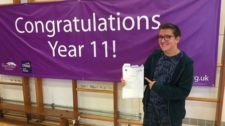 Peter Vetere, head boy at Thetford Academy is thrilled with his results. He hopes to get into the en