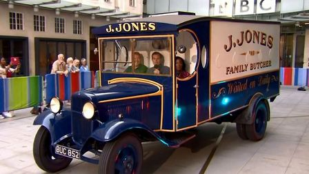 Jones's butcher's van was on loan from the museum for the apperance. Picture: BBC