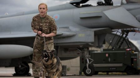 Corporal Laura O'Brien-Bunn and Military Working Dog Gina from RAF Lossiemouth - one of the teams co
