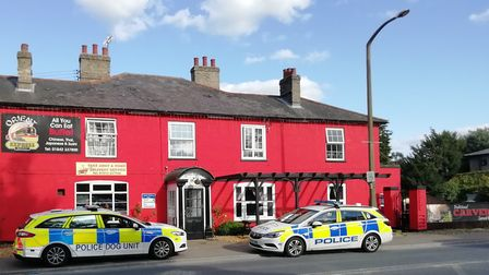 Police cars outside the Orient Express Buffet on Brandon High Street on Sunday, September 8. Picture