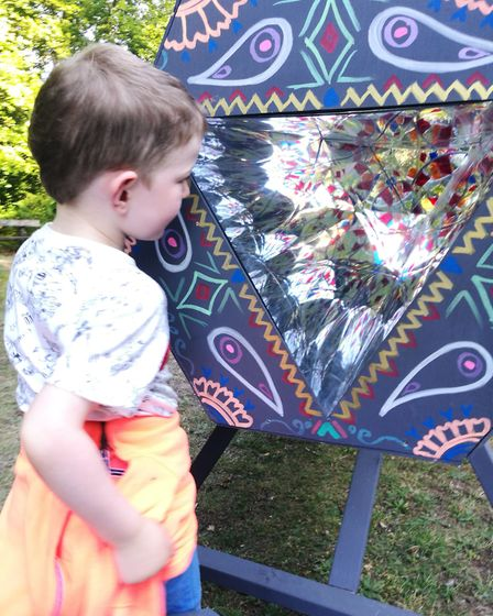Visitors enjoyed a giant kaleidoscope at the Tales and Trails Festival at Brandon Country Park. Pict