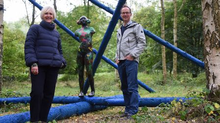 Artist Lisa Wright, and theatre designer Tom Piper with one of their installations, Forest Venus, at