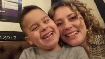 8-year-old Harvey Baker and his mother, Charlotte Baker, from Thetford. Photo: Charlotte Baker