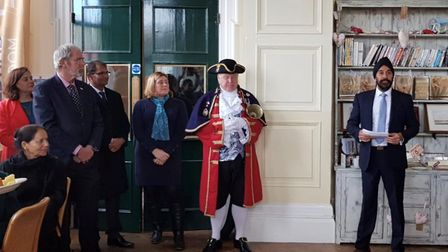 Historian and biographer, Peter Bance, spoke at the reception held at the Guildhall after the memori