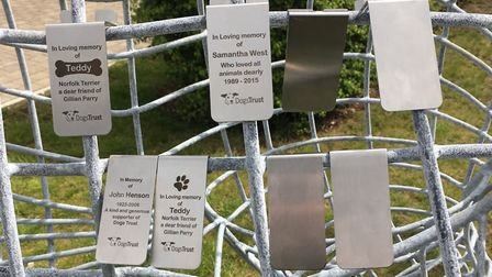 The memorial plaques that would be fixed to the sculpture. Pictures: Dogs Trust