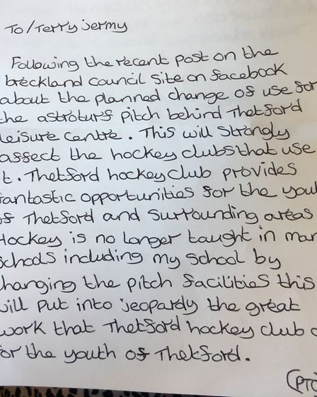 A letter written by 14-year-old Paige Taylor, a junior member of Thetford Town Hockey Club, sent to