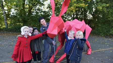 Greater Anglia's Hare visits Weeting Primary to launch an education session with Norfolk Wildlife Tr