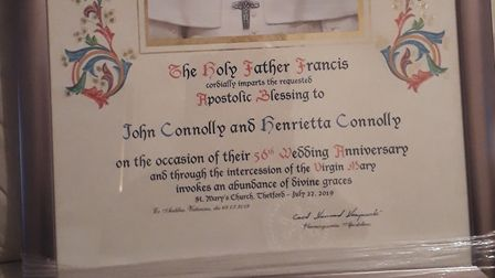 The papal blessing from Pope France to John and Henrietta Connolly congratulating them on their 56