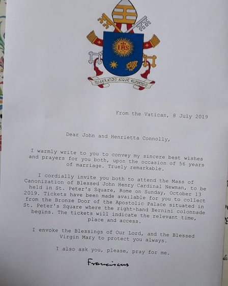The personal invite from Pope France to John and Henrietta Connolly asking if they would attend the
