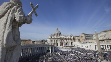 Faithful gather in St. Peter's Square at the Vatican, Sunday, Oct. 13, 2019. Pope Francis on Sunday