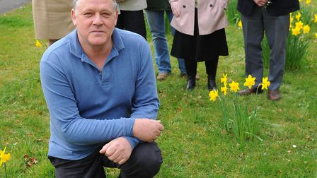 The new Brandon in Bloom team have planted daffodils around Brandon.front is Gary Brocklehurst