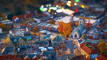 Neil James Garrods photograph of Thetford using his drone. He used his editing skills to make the to