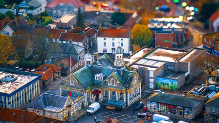 Neil James Garrods photograph of the Guild Hall in Thetford using his drone. He used his editing ski