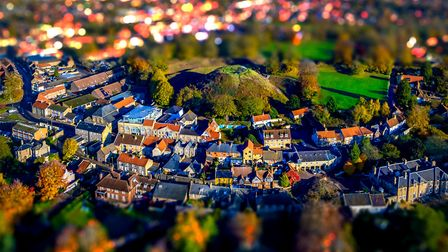 Neil James Garrods photograph of Castle Hill inThetford using his drone. He used his editing skills