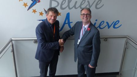 Principal at IES Breckland, Jon Winn, with Maurice Stainsby, the Rotary Club president. Picture: IES