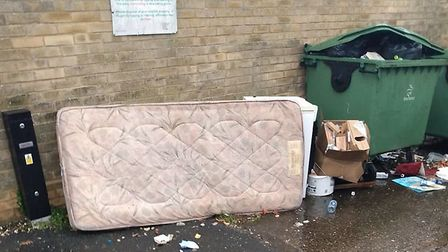 Waste that has been left in Breckland House car park in Thetford. Picture: Breckland Council