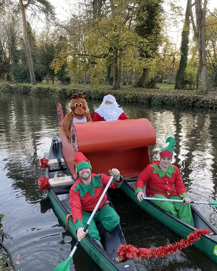 Santa with his reindeer and little helpers on the river for Thetford's Winter Wonderland 2019. Photo
