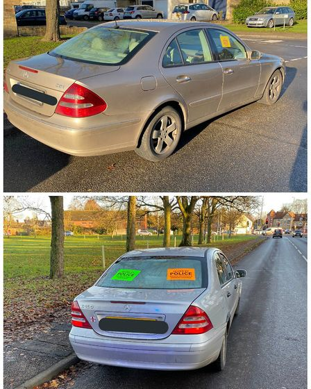 Two Mercedes seized within five minutes of one another after being stopped in Thetford. Picture: Nor