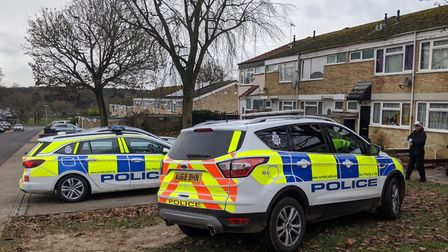 Police on the scene of a stabbing in Thetford. Picture: Archant