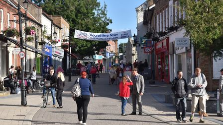 The High Street and King Street in Thetford. Byline: Sonya Duncan