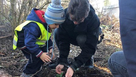 Youngsters from the Princess Trust helping create the garden. Picture: Terry Jermy