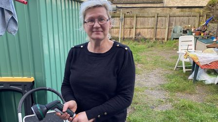 Jurate Stevens is a resident on Elm Road and she used her garden hose to help put out a garage block