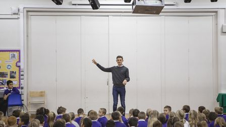 Callum James speaking to children at Bishop's Primary School about Flagship's work and the Abbey Est