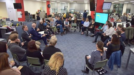 A recent Think In event at the EDP. People can share their views on the future of our towns at an ev