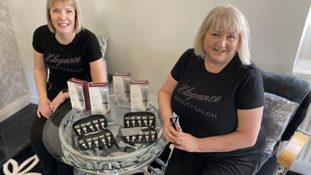 Bridget Cobb (right), the owner of Elegance Beauty Salon in Thetford, with her beauty therpist Kerri