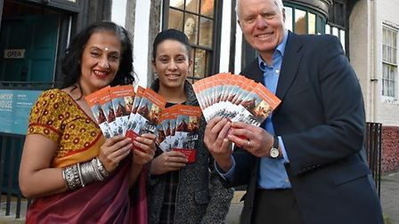 Seema Anand, Sikh historian Nanaki Bance, and museum curator Oliver Bone outside Ancient House Museu