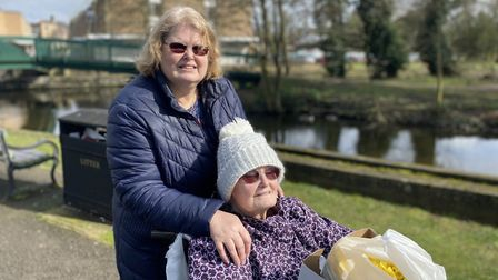 Penny Lyndon and her mother Mary Lyndon in Thetford town centre. Photo: Emily Thomson