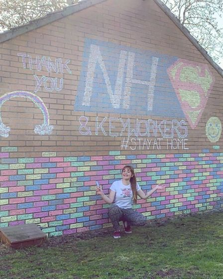 Kat Brown and her family used the side of their home to thank NHS staff and key workers during the p