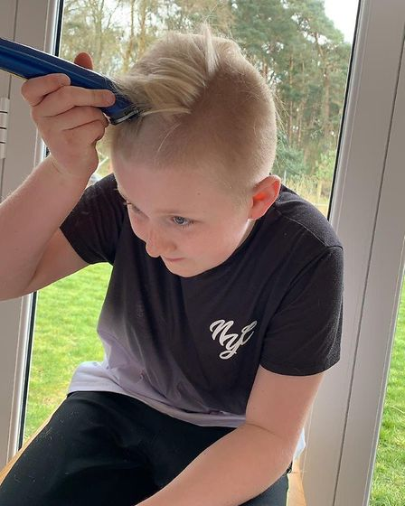 Fin Tilly from Thetford shaved his head during the coronavirus lockdown to raise money for the chari