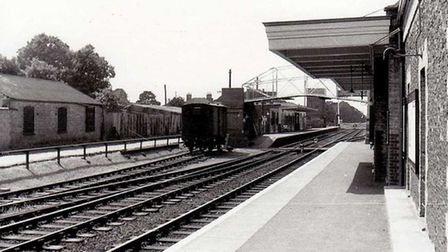 View of the Brandon station building with its canopy in 1958. Picture: BrandonSuffolk.com