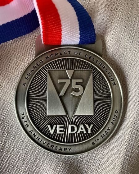 VE day medals being given out to those taknig part in Thetford's virtual running challenge. Photo: M