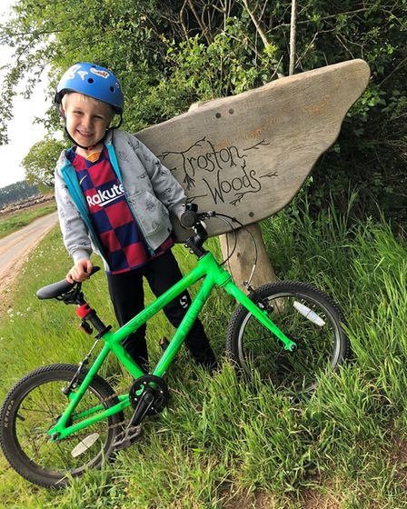 Benjamin Lower, five, is riding 10km a day for 10 days to raise money for NSFT. Picture: Kate/Rob Lo
