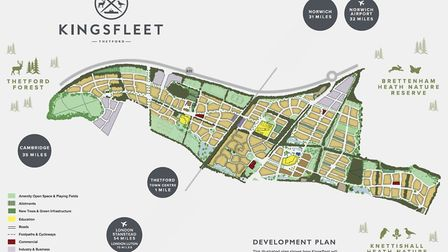 The masterplan for Thetford's 5,000-home Kingsfleet housing estate. Photo: Pigeon Investment Managem