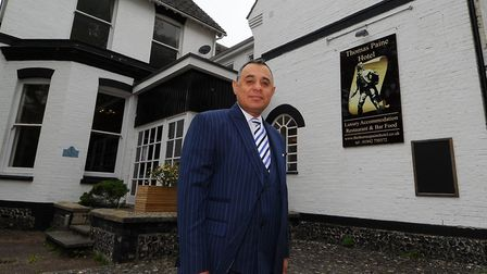 Gez Chetal owner of the Thomas Paine Hotel in Thetford. Photograph Simon Parker