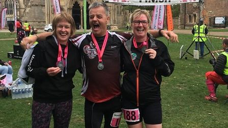 Melanie Sturman (right), a nurse from Thetford, who was set to complete her 300th marathon before th