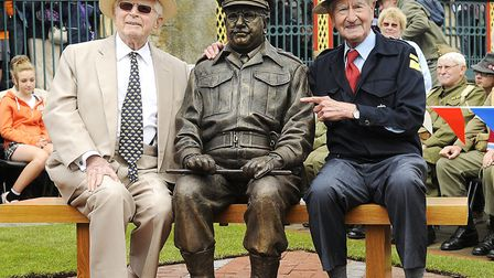 Dads Army writer David Croft and actor Bill Pertwee at the unveiling of the Captain Mainwaring bronz