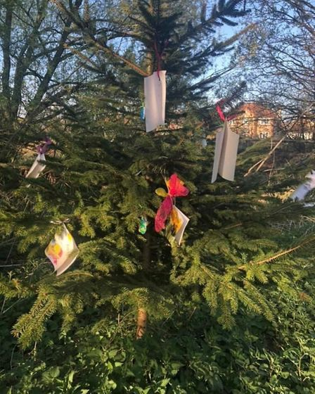 Chloe's tree in Arlington Way, in Thetford, was decorated by the community during lockdown. Photo: K