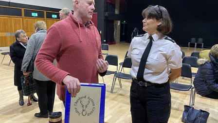 Police spoke to members of the Thetford community at a STAG public meeting in January, before the pa