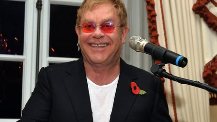 Sir Elton John gives a speech at Winfield House in London. Picture: Hannah McKay/PA Images