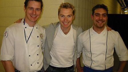 Tour chef to the stars, Tony Liddell (left) with singer Ronan Keating (middle). Photo: Tony Liddell