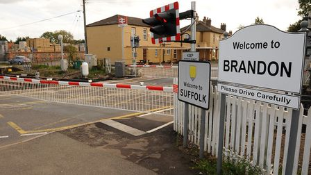 The barriers at the level crossing on Bridge Street in Brandon. Photograph Simon Parker
