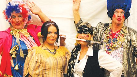 Lindsey Simpson as Sindohella with members of the cast of the Overstrand pantomime.